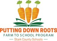 Farm to School Program logo carrots and book